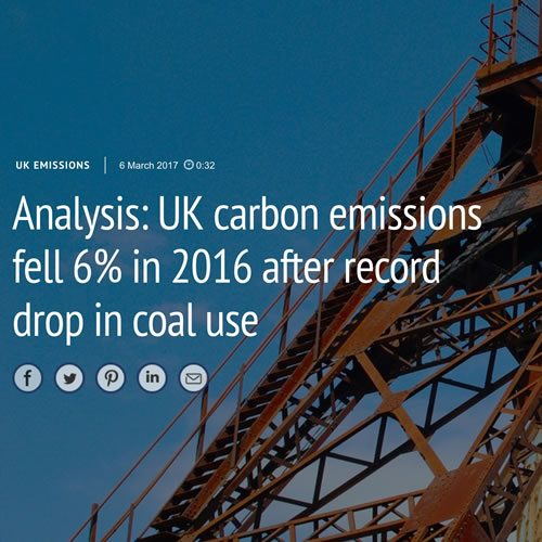 Analysis: UK carbon emissions fell 6% in 2016 after record drop in coal use