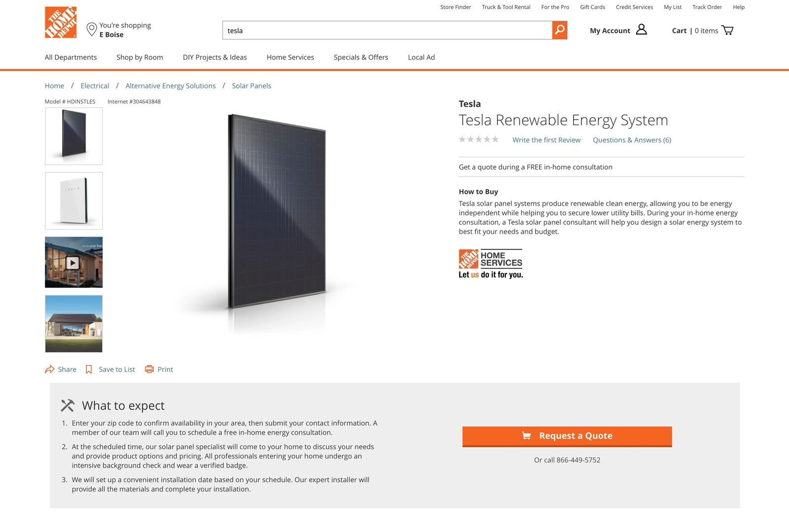 Tesla Expands Sales of Solar Gear at Home Depot